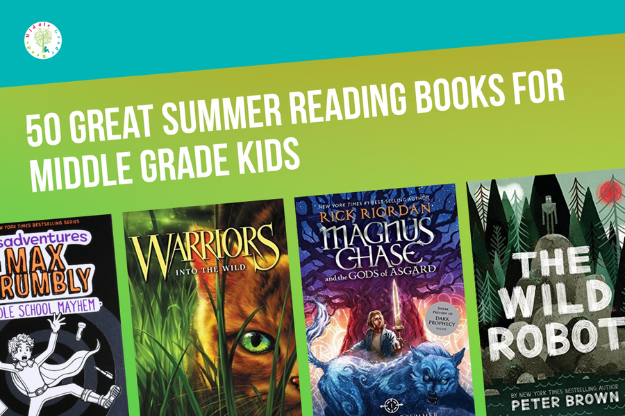 Looking for some great summer reading books for middle grade kids? Check out 50 of our favorites! You'll find something in every genre, from fast-paced adventures to sweet coming of age stories. Read on to check them out!